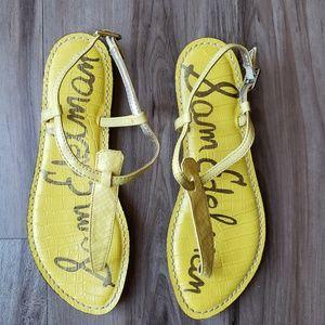 Sam Edelman Yellow Leather Gigi Sandals, 7